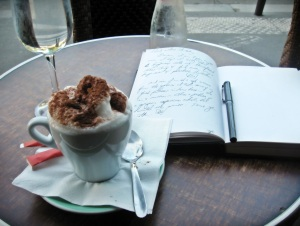 Writing in my journal in cafes and coffee shops..