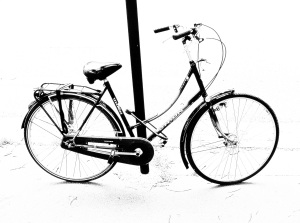 black bike black and white