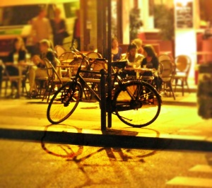 paris bike cafe shadow